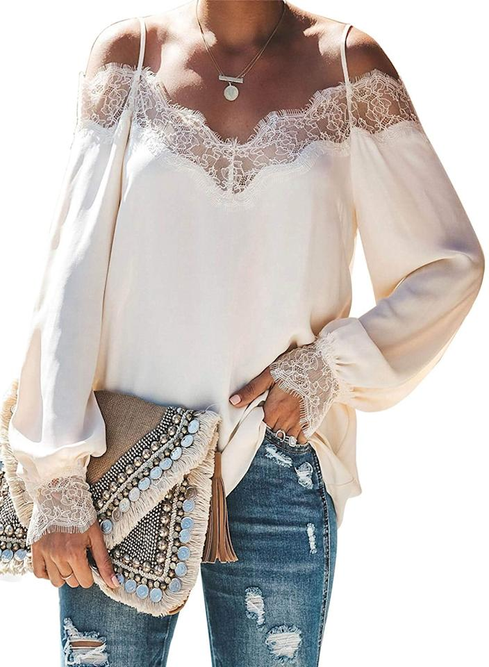 "<p>This pretty <a href=""https://www.popsugar.com/buy/BLENCOT-V-Neck-Lace-Blouse-532854?p_name=BLENCOT%20V-Neck%20Lace%20Blouse&retailer=amazon.com&pid=532854&price=20&evar1=fab%3Aus&evar9=45885547&evar98=https%3A%2F%2Fwww.popsugar.com%2Ffashion%2Fphoto-gallery%2F45885547%2Fimage%2F47157569%2FBLENCOT-V-Neck-Lace-Blouse&list1=shopping%2Ctops%2Cshirts%2Cblouses%2Cspring%20fashion&prop13=mobile&pdata=1"" rel=""nofollow"" data-shoppable-link=""1"" target=""_blank"" class=""ga-track"" data-ga-category=""Related"" data-ga-label=""https://www.amazon.com/BLENCOT-Womens-Strappy-Shoulder-Blouses/dp/B07S5KZMYS/ref=sr_1_4?dchild=1&amp;keywords=long%2Bsleeve%2Bblouse&amp;qid=1576612451&amp;sr=8-4&amp;th=1&amp;psc=1"" data-ga-action=""In-Line Links"">BLENCOT V-Neck Lace Blouse</a> ($20) is one of the bestselling options on the site.</p>"
