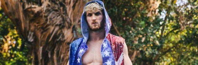 Logan Paul dressed in USA-themed boxing gear