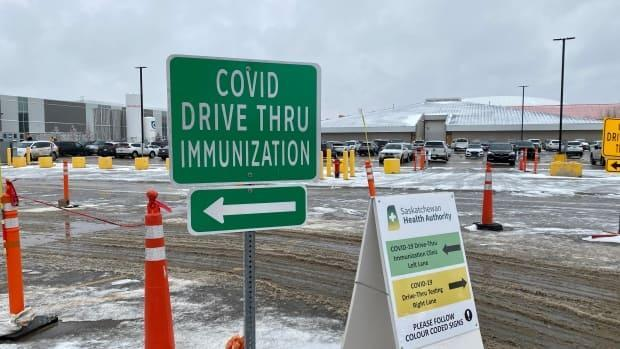 The drive-thru COVID-19 immunization clinic in Regina. Over the weekend, some Regina police officers received their shot.