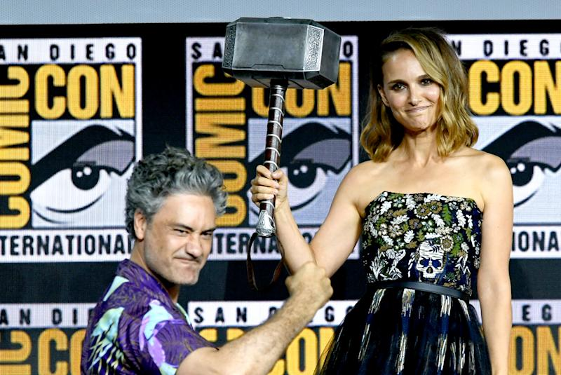 Taika Waititi and Natalie Portman speak at the Marvel Studios Panel during 2019 Comic-Con International. (Photo by Kevin Winter/Getty Images)