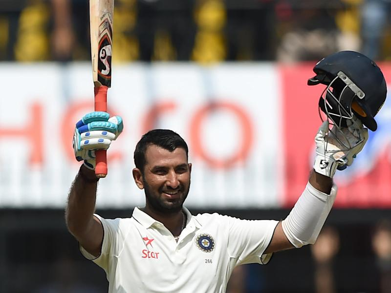 Pujara celebrates his historic innings: Getty