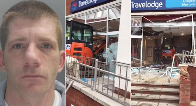 John Manley, left, and the scene after he ploughed into the front of the Liverpool Travelodge last year. (Samuel White/PA)