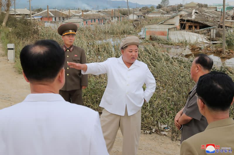 North Korea leader tours typhoon-hit area, directs recovery effort