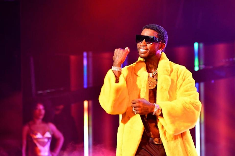 """<div class=""""inline-image__caption""""><p>Gucci Mane performs onstage during the BET Hip Hop Awards 2018 at Fillmore Miami Beach on October 6, 2018, in Miami Beach, Florida.</p></div> <div class=""""inline-image__credit"""">Paras Griffin/Getty</div>"""