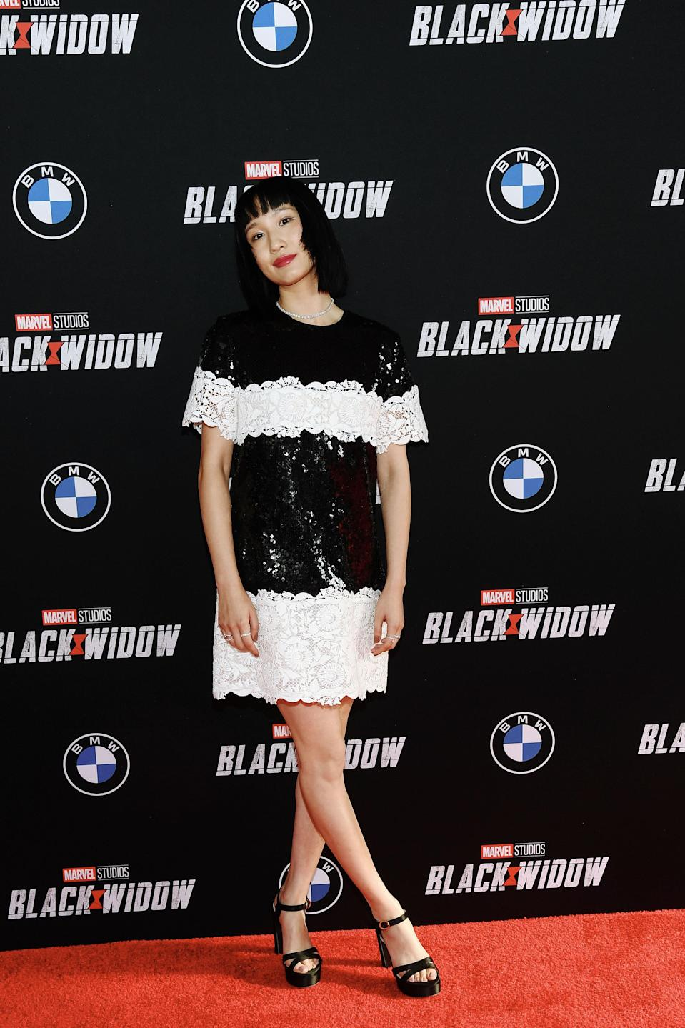 Meng'er Zhang arrives at the Fan Screening of Marvel's Black Widow at the El Capitan Theatre on June 29, 2021 in Hollywood, California. - Credit: Michael Buckner for PMC