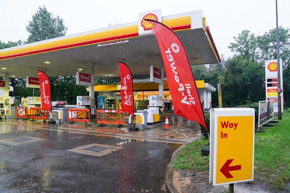 Fuel pumps are out of use at a deserted Shell petrol station forecourt in Warwick (Jacob King/PA) (PA Wire)