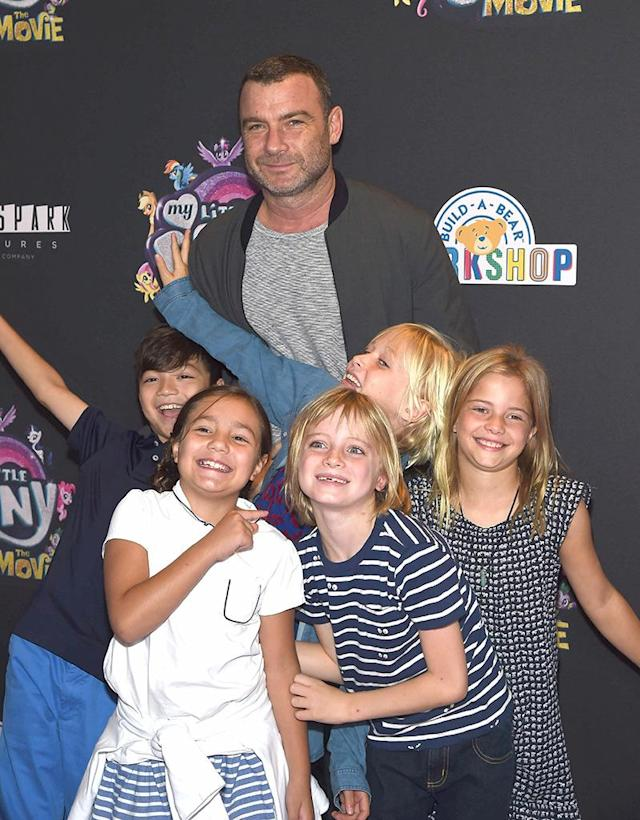 <p>Adorable! Liev Schreiber took his sons — Samuel, 8, and Sasha, 10 — plus their friends to the <em>My Little Pony: The Movie</em> screening in New York. Um, coolest dad ever? (Photo: Gary Gershoff/Getty Images) </p>