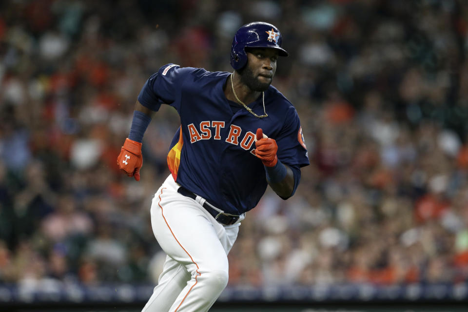 Yordan Alvarez, 22, hit 27 homers in his rookie season for the Astros. (Photo by Tim Warner/Getty Images)