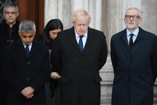 London Mayor Sadiq Khan, British Prime Minister Boris Johnson and Labour leader Jeremy Corbyn at a vigil to honour the victims