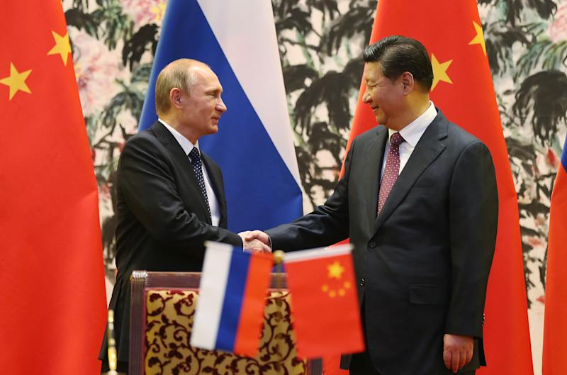 Russian President Vladimir Putin (L) and his Chinese counterpart Xi Jinping shake hands during a signing ceremony in Beijing on November 9, 2014 (AFP Photo/How Hwee Young)