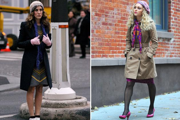 We've seen Carrie adorn her head with hats, feathers, flowers, and beanies. Here's a very similar look of Carrie, then and now. Notice how she layered it as well: trench coat, printed dress, and scarf. There are just some styles you develop when you were younger that you can never let go of.