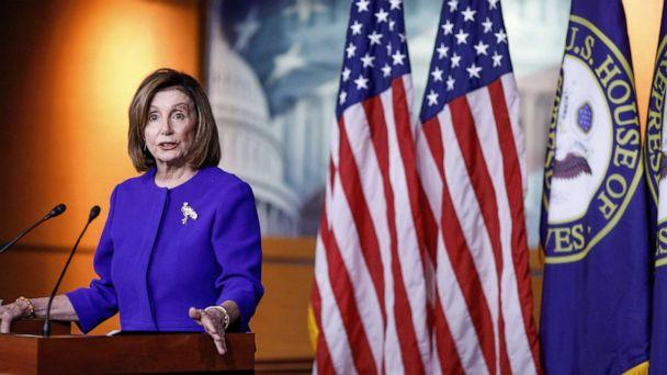 PHOTO: Speaker of the House Nancy Pelosi speaks ahead of a House vote on a War Powers Resolution and amid the impeachment stalemate, as she addresses her weekly news conference at the U.S. Capitol in Washington, D.C., Jan. 9, 2020. (Tom Brenner/Reuters)