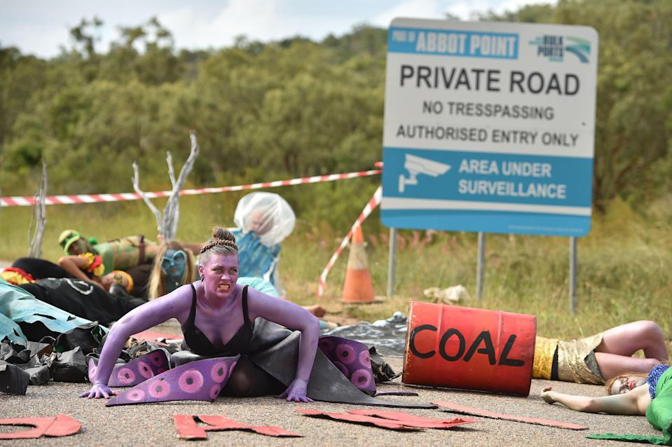 Environmental campaigners have long protested against the development of the Carmichael coal mine in AustraliaAFP/Getty