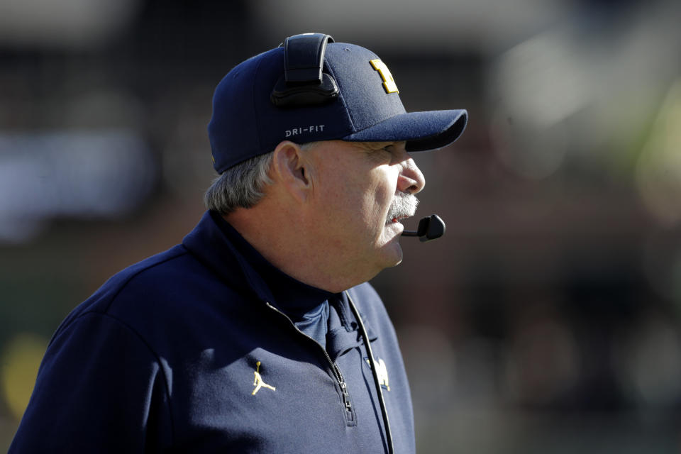 Michigan defensive coordinator Don Brown looks on during the second half of an NCAA college football game against Maryland, Saturday, Nov. 2, 2019, in College Park, Md. Michigan won 38-7. (AP Photo/Julio Cortez)
