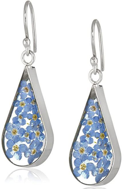 Sterling Silver Pressed Flower Teardrop Earrings. (Image via Amazon)