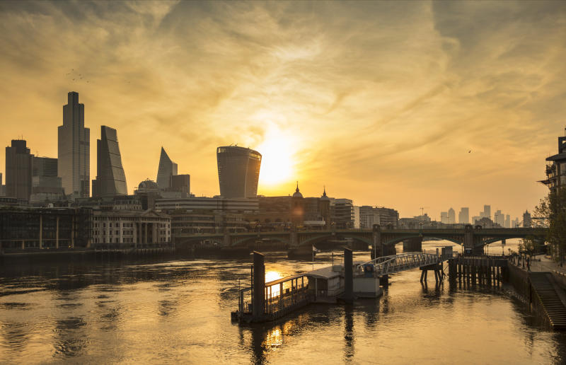 Skyline of the city of London and Tower Bridge taken from the Millenium Bridge at dawn during the coronavirus pandemic on the 24th April 2020 in London, United Kingdom. (photo by Barry Lewis/InPictures via Getty Images)