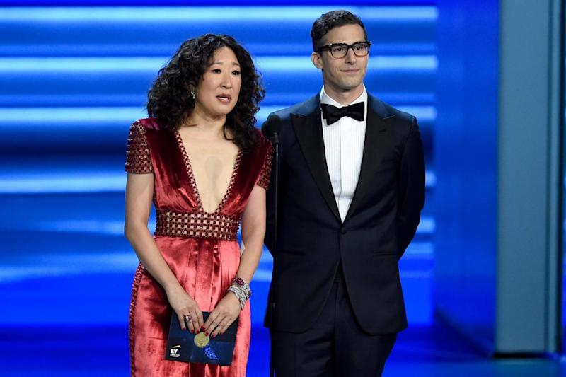 Hosts: Sandra Oh and Andy Samberg will play host (Chris Pizzello/Invision/AP)
