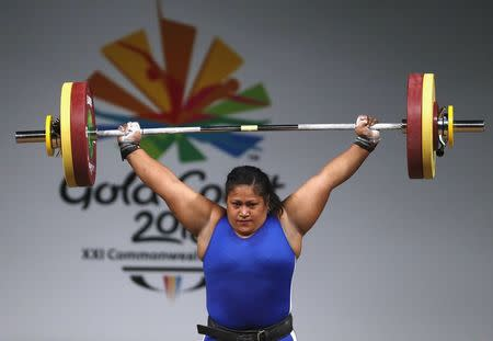 Weightlifting - Gold Coast 2018 Commonwealth Games - Women's +90kg - Final - Carrara Sports Arena 1 - Gold Coast, Australia - April 9, 2018. Feagaiga Stowers of Samoa competes. REUTERS/Paul Childs
