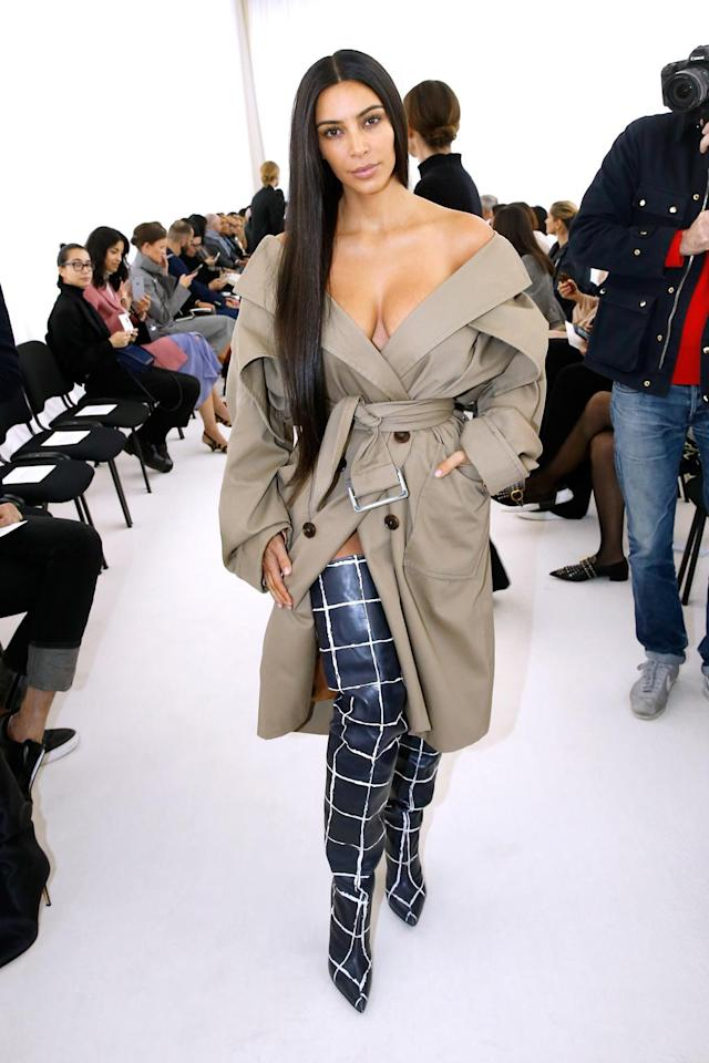 Kim Kardashian attends the Balenciaga show as part of the Paris Fashion Week on Oct. 2, 2016. (Photo: Getty Images)