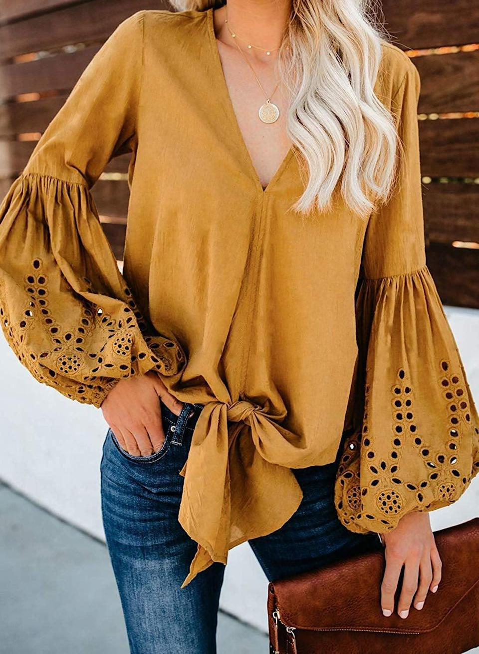 <p>The details on this <span>Asvivid Balloon Sleeve Top</span> ($23) are so pretty.</p>