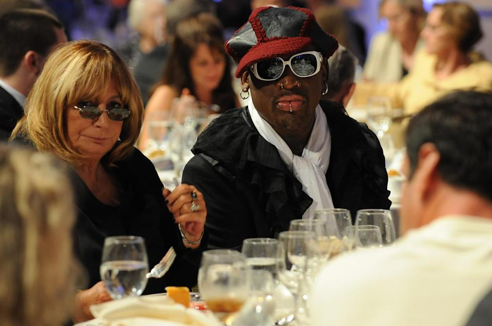 Penny Marshall had been working on a Dennis Rodman documentary since 2012 and the morning she died, she had a call about it. The pair, although seemingly different, were great friends. (Photo: Andrew D. Bernstein/NBAE via Getty Images)
