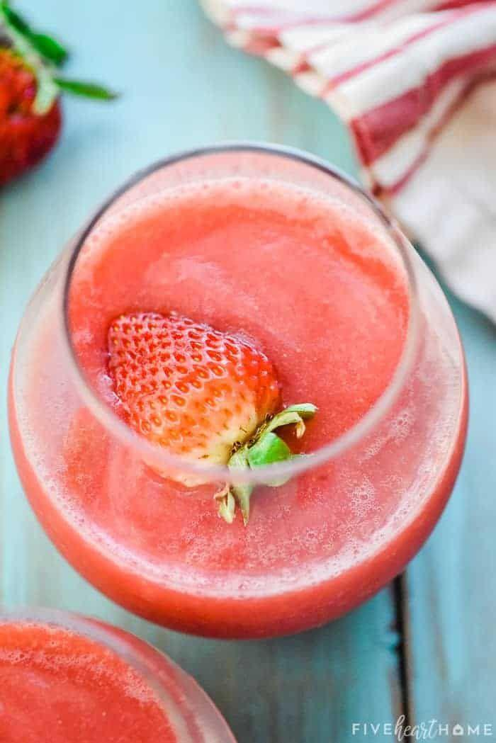 """<p>This trendy frosty beverage—a blended mixture of rosé and frozen strawberries—is ripe for a crowd. </p><p>Get the recipe at <a href=""""https://www.fivehearthome.com/frose-recipe/"""" rel=""""nofollow noopener"""" target=""""_blank"""" data-ylk=""""slk:Five Heart Home"""" class=""""link rapid-noclick-resp"""">Five Heart Home</a>.</p>"""