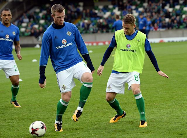 Soccer Football - 2018 World Cup Qualifications - Europe - Northern Ireland vs Czech Republic - Belfast, Britain - September 4, 2017 Northern Ireland's Steven Davis and Chris Brunt during the warm up before the match REUTERS/Clodagh Kilcoyne