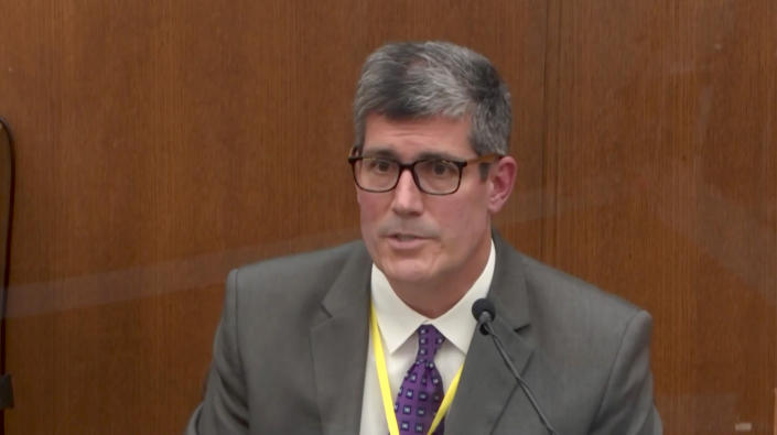 Dr. Andrew Baker, of the Hennepin County MediDr. Andrew Baker of the Hennepin County medical examiner's office. (Court TV via Reuters Video)cal Examiner's Office, testifies in the Derek Chauvin trial on April 9. (Court TV via Reuters Video)