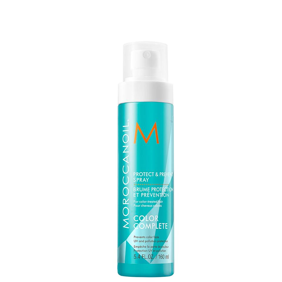 """<p>Formulated with sunflower extract, Moroccanoil's Protect and Prevent lightweight spray keeps your hair color from oxidizing and leaves it smelling like Moroccanoil's signature tropical, argan <a href=""""https://www.allure.com/gallery/best-smelling-hair-products?mbid=synd_yahoo_rss"""" rel=""""nofollow noopener"""" target=""""_blank"""" data-ylk=""""slk:oil-based scent"""" class=""""link rapid-noclick-resp"""">oil-based scent</a>. Plus, you can use this to detangle, which is great after spending time in the beach's winds and waves.</p> <p><strong>$30</strong> (<a href=""""https://shop-links.co/1639252639698667163"""" rel=""""nofollow noopener"""" target=""""_blank"""" data-ylk=""""slk:Shop Now"""" class=""""link rapid-noclick-resp"""">Shop Now</a>)</p>"""