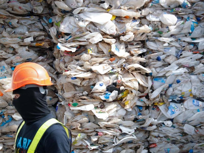 A container is filled with plastic waste from Australia, in Port Klang, Malaysia: AP