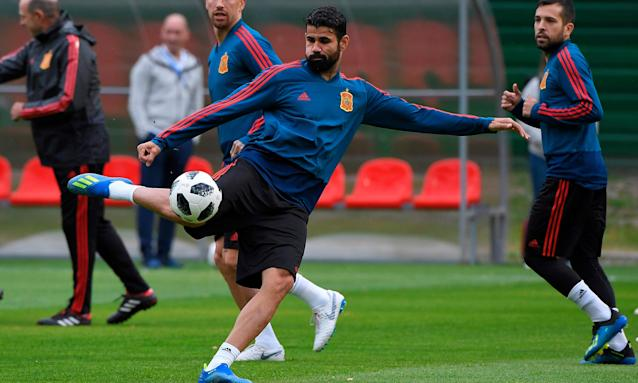 Spain's most potent forward so far in Russia, Diego Costa, takes part in shooting practice in preparation for the final Group B match against Morocco.