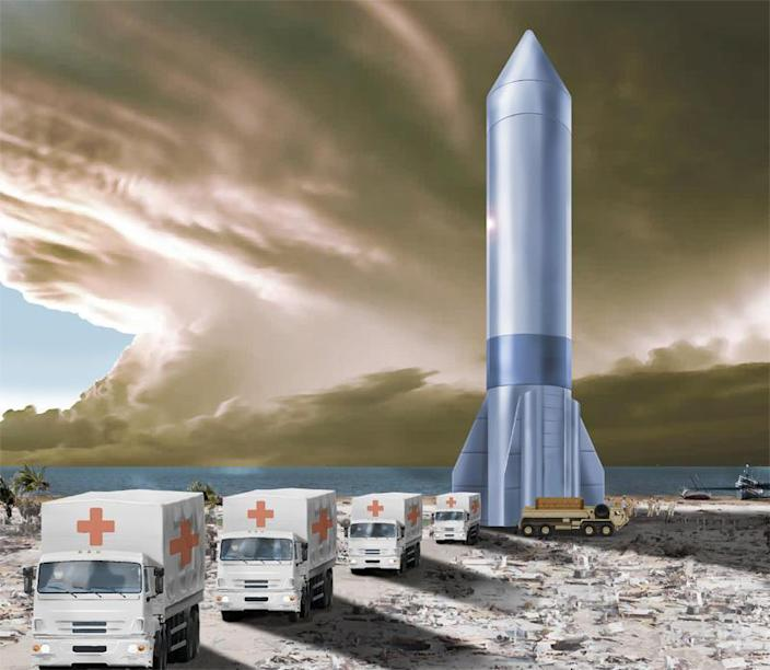 An artist's impression of a military cargo rocket after landing at a remote site. The Air Force Research Laboratory is studying the feasibility of using large, commercially-developed rockets to deliver material to destinations anywhere in the world in a fraction of the time needed by more traditional means. / Credit: U.S. Air Force