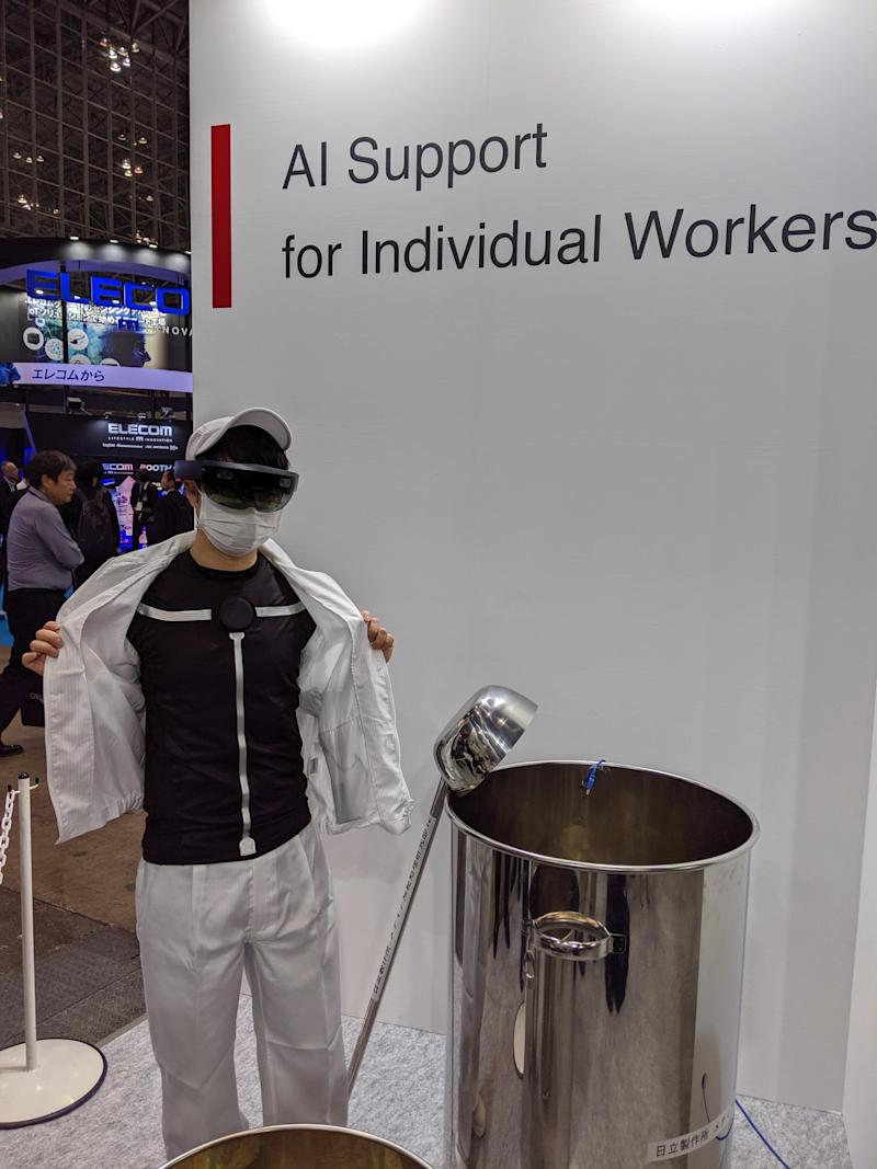 Xenoma makes an activity-tracking shirt for work, not exercise. The data insights are shown on a Microsoft HoloLens augmented-reality visor worn by the employee.