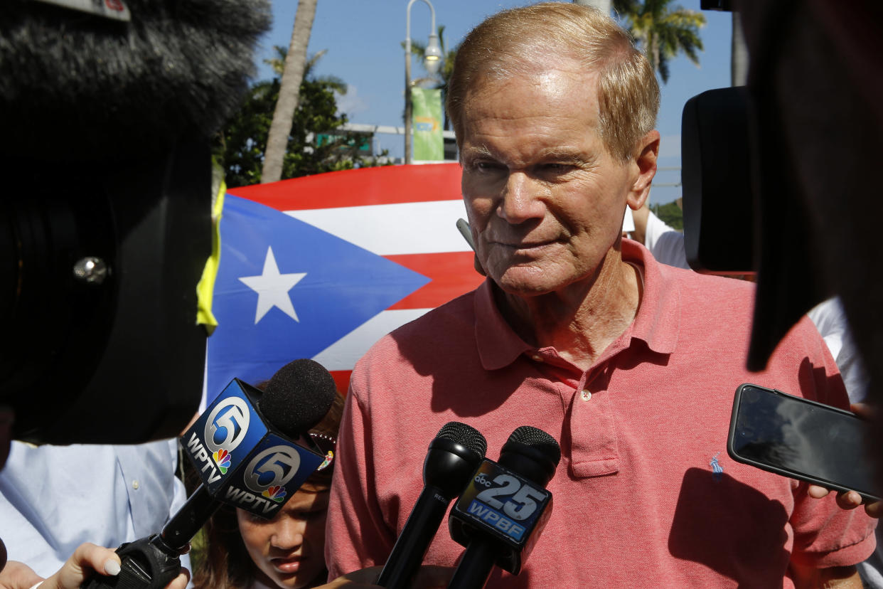 Sen. Bill Nelson, D-Fla., speaks to reporters at a rally in West Palm Beach, Fla. (Photo: Ellis Rua/AP)