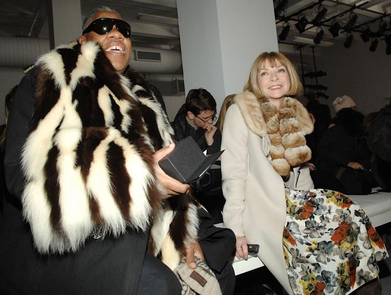 Andre Leon Talley (L) and Anna Wintour attend the Calvin Klein Fall 2007 fashion show during Mercedes-Benz Fashion Week February 8, 2007 in New York City.