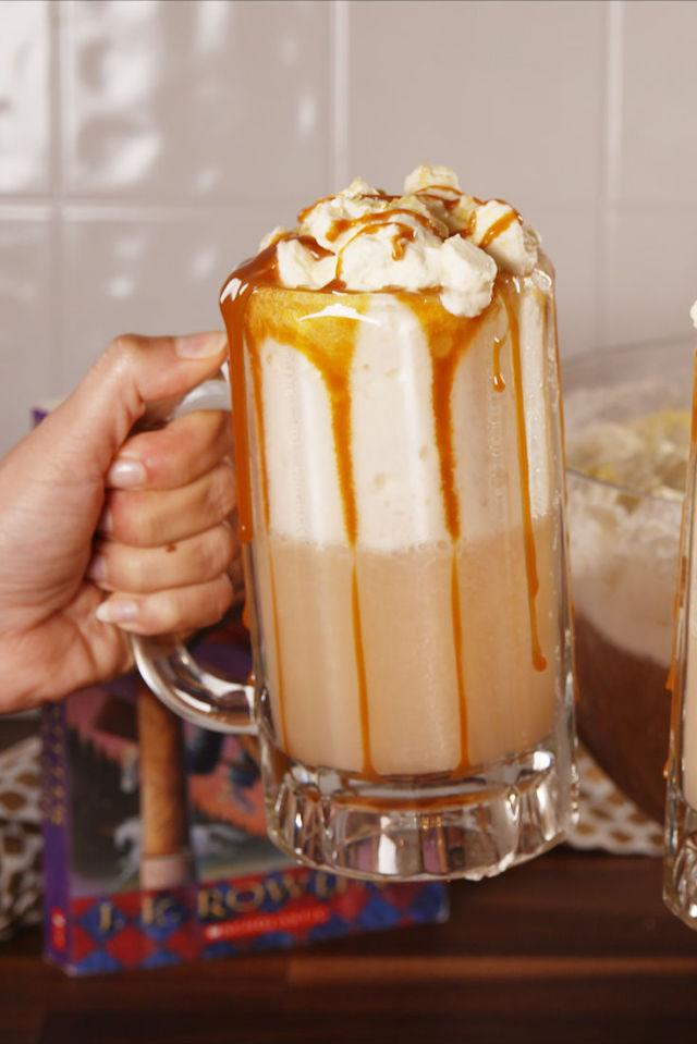 """<p>For your adult Harry Potter parties.</p><p>Get the recipe from <a rel=""""nofollow"""" href=""""http://www.delish.com/cooking/recipe-ideas/recipes/a55804/boozy-butterbeer-punch-recipe/"""">Delish</a>.</p>"""