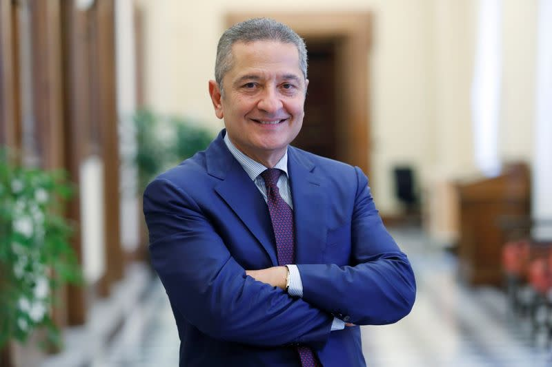 FILE PHOTO: Senior Deputy Governor of the Bank of Italy, Fabio Panetta is seen standing in a corridor of the Bank of Italy ahead of his appointment to the European Central Bank's executive committee