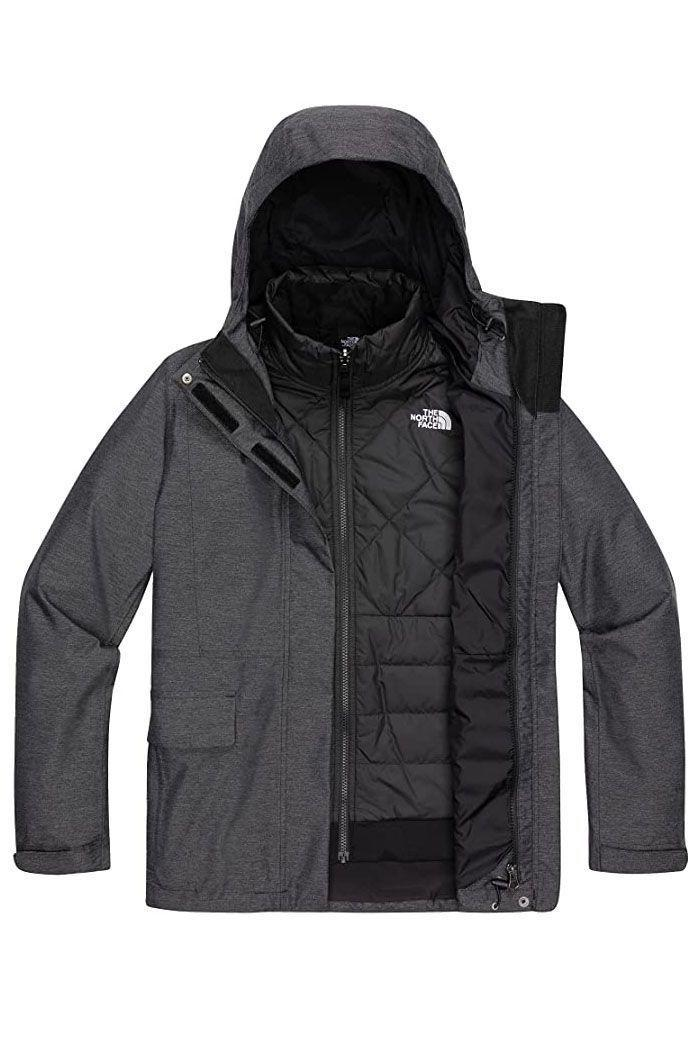 """<p><strong>The North Face</strong></p><p><strong>$259.95</strong></p><p><a href=""""https://www.amazon.com/dp/B097NH9VMX?tag=syn-yahoo-20&ascsubtag=%5Bartid%7C10055.g.2273%5Bsrc%7Cyahoo-us"""" rel=""""nofollow noopener"""" target=""""_blank"""" data-ylk=""""slk:Shop Now"""" class=""""link rapid-noclick-resp"""">Shop Now</a></p><p><strong>Insulation: </strong>Recycled polyester<br><strong>Best for:</strong> Everyday wear, winter sports</p><p><strong>This layered coat can be worn three ways depending on the weather and your activity level. </strong>Wear the insulated inner jacket on its own, the outer waterproof and windproof shell on its own, or the two layers together as one. Reviewers also rave about its attention to detail, from the velcro to keep the button flaps in place to the plethora of pockets. It also includes adjustable features, from the hood to the hem.</p>"""