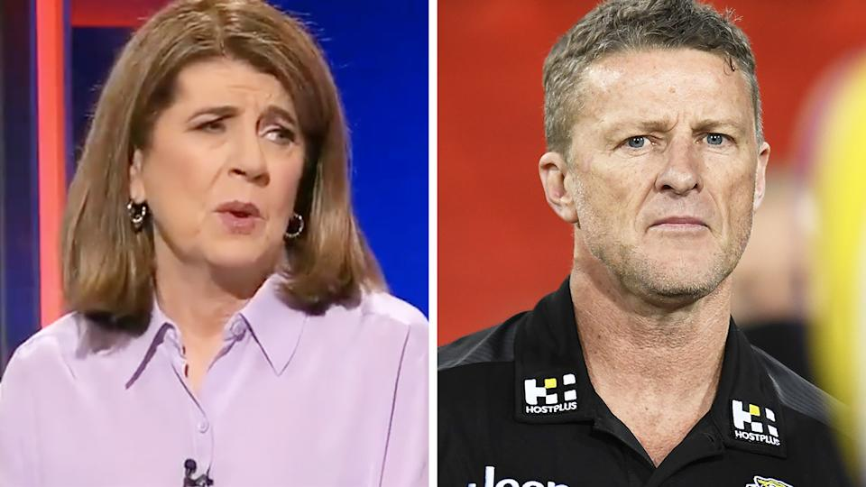 Channel 9 AFL reporter Caroline Wilson says the league is privately pleased the Richmond Tigers will miss the finals this season. Pictures: Channel 9/Getty Images