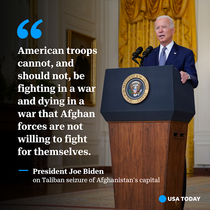 President Joe Biden speaks about the fall of Afghanistan from the East Room of the White House on Monday, August, 17, 2021.