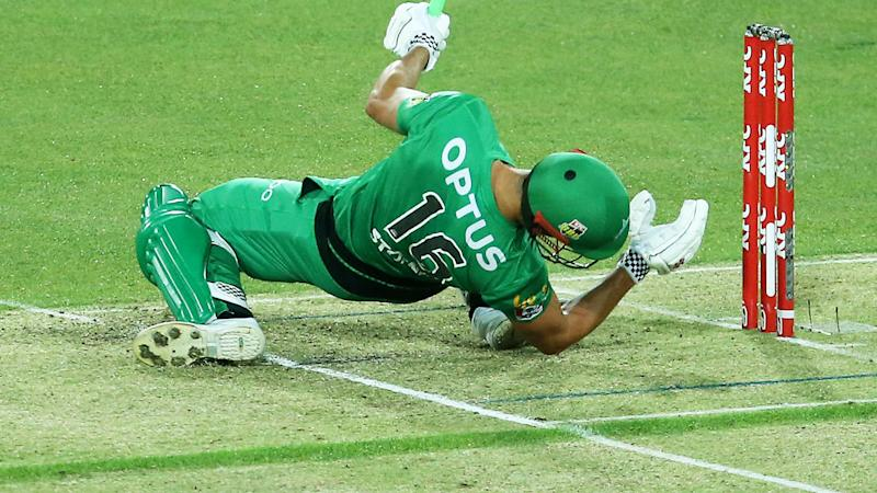 Marcus Stoinis, pictured here after he was struck on the helmet by a delivery from Riley Meredith.