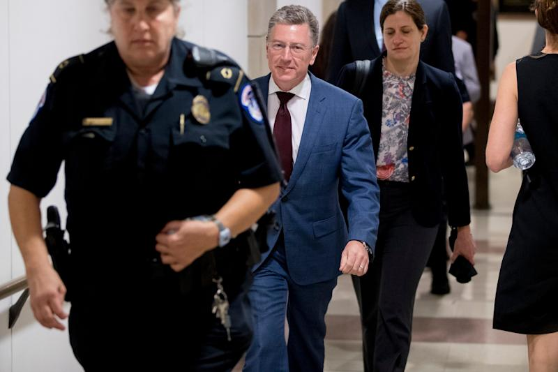 Kurt Volker, a former special envoy to Ukraine, leaves a closed door meeting on Capitol Hill in Washington, Oct. 16, 2019, after testifying before congressional lawmakers as part of the House impeachment inquiry into President Donald Trump.