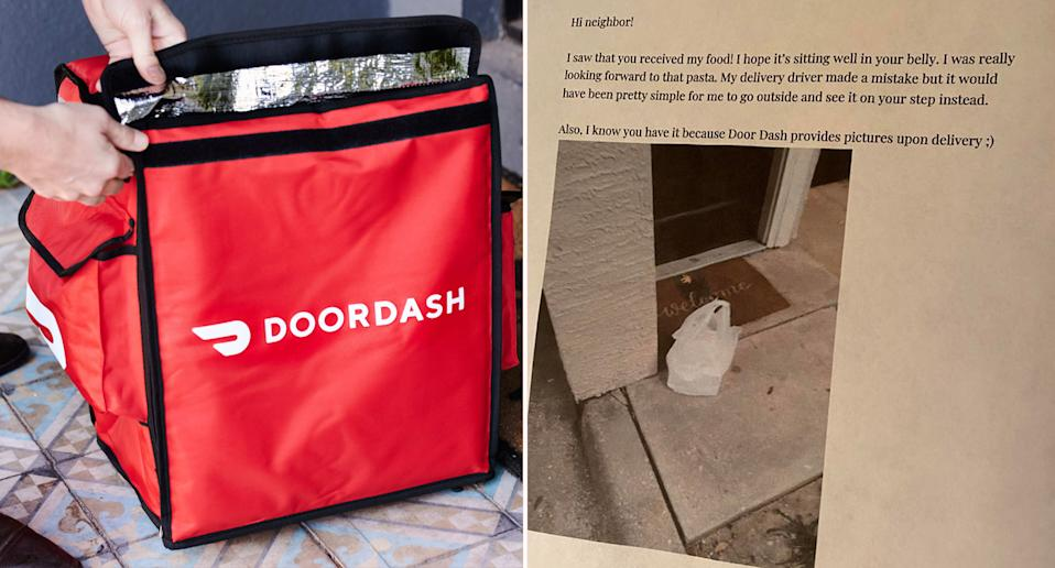 An image of the note left for a neighbour after it was suspected they stole somebody's food delivery.