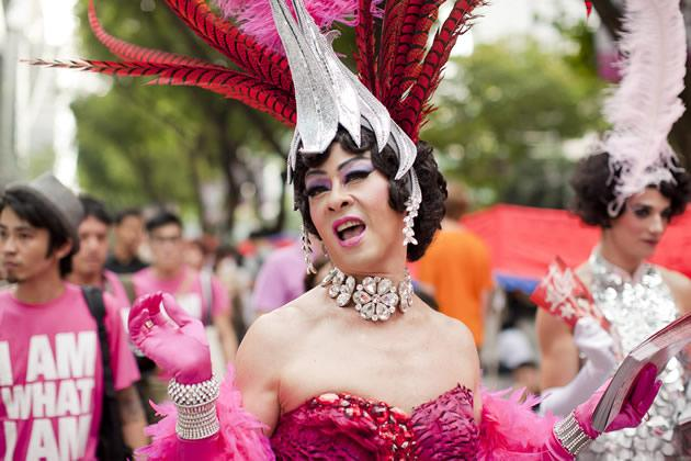 The glamourous Zaza, drag queen of the nightclub La Cage, played by stage actor Ivan Heng. (W!LD RICE photo)