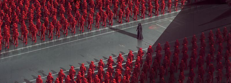 Kylo Ren walks through a hanger filled with Sith Troopers in a piece of concept art from 'The Art of Star Wars: The Rise of Skywalker' (Photo: Lucasfilm Ltd. © Abrams Books, 2020/2020 Lucasfilm Ltd.)