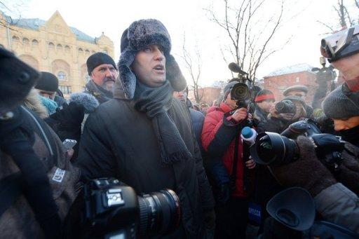 Russian opposition activist Alexei Navalny attends an opposition protest in Moscow on December 15, 2012