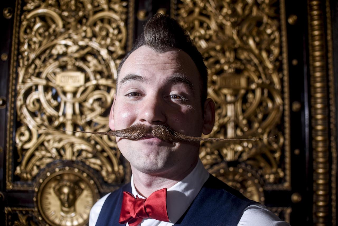 <p>Jackie Lynn Ellison travelled from Austin, Texas, to show off his 'tache at the competition. (Dan Rowlands/Mercury Press) </p>