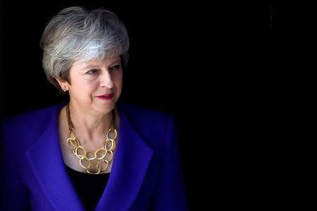 FILE PHOTO: Britain's Prime Minister Theresa May waits for Iceland's Prime Minister Katrin Jakobsdottir at Downing Street in London, Britain, May 2, 2019. REUTERS/Toby Melville/File Photo