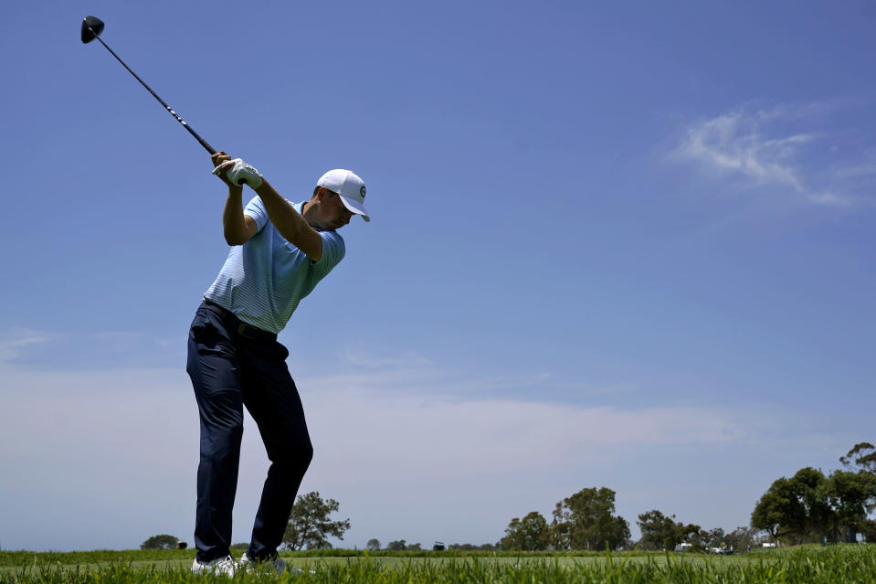 Jordan Spieth plays his shot from the 14th tee during a practice round of the U.S. Open Golf Championship, Tuesday, June 15, 2021, at Torrey Pines Golf Course in San Diego. (AP Photo/Marcio Jose Sanchez)