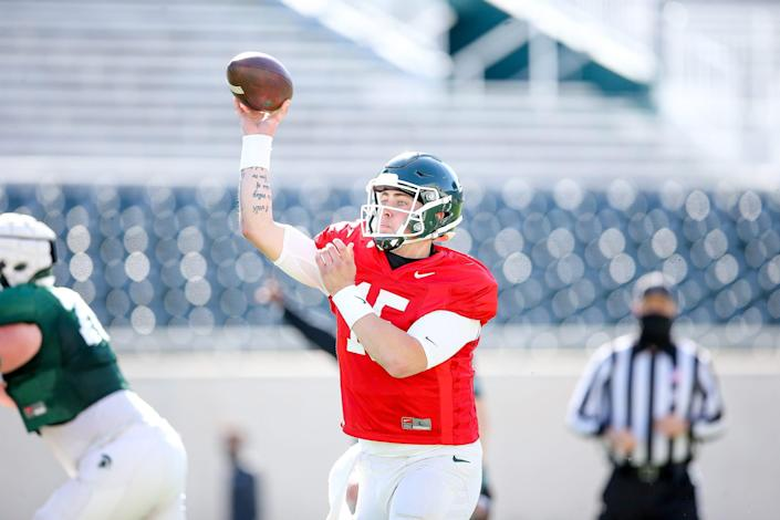Michigan State graduate transfer quarterback Anthony Russo throws during the Spartans' second spring scrimmage Tuesday, April 13, 2021.